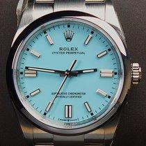 Rolex Oyster Perpetual 36 Stahl 36mm Blau Keine Ziffern