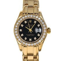 Rolex Lady-Datejust Pearlmaster Yellow gold 29mm Mother of pearl No numerals