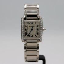 Cartier White gold Quartz Silver Roman numerals 20mm pre-owned Tank Française