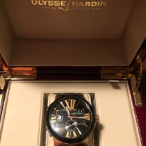 Ulysse Nardin Executive Dual Time pre-owned 43mm Black Date GMT Crocodile skin