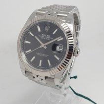 Rolex Or blanc Remontage automatique Noir Sans chiffres 41mm nouveau Datejust II