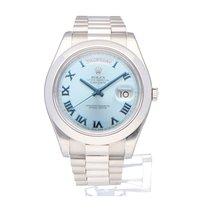 Rolex Day-Date II Platina 41mm Albastru Roman