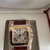 Cartier Santos 100 pre-owned White Chronograph Date Crocodile skin