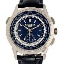 Patek Philippe World Time Chronograph Or blanc 39mm Bleu Sans chiffres