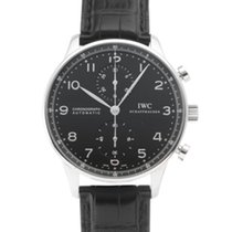 IWC Portuguese Chronograph pre-owned 40.9mm Black Leather