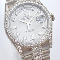 Rolex Day-Date 36 gebraucht 36mm Silber Datum Wochentagsanzeige Weißgold