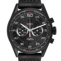 TAG Heuer Carrera Calibre 36 pre-owned 43mm Black Flyback Date Tachymeter Leather