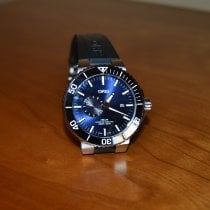 Oris Aquis Small Second pre-owned Blue Date Rubber