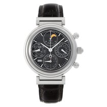 IWC Da Vinci Perpetual Calendar pre-owned 39mm Black Moon phase Chronograph Date Weekday Month Perpetual calendar Leather