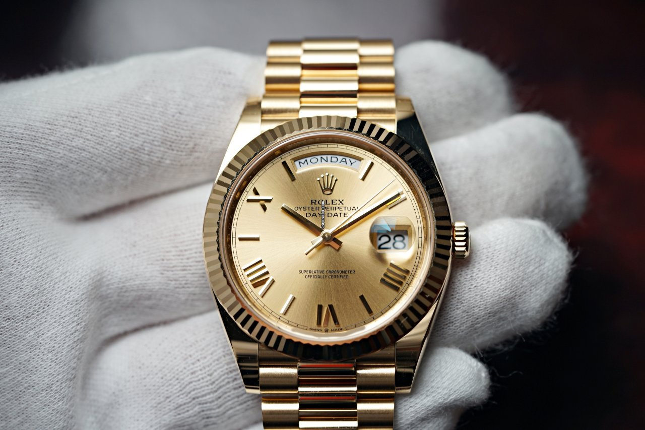 Rolex 2021 Day-Date 40 NEW Champagne Roman Dial President 228238 for  $42,995 for sale from a Trusted Seller on Chrono24