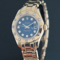 Rolex Lady-Datejust Pearlmaster Yellow gold 29mm Blue