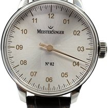 Meistersinger N° 02 pre-owned 43mm Silver Crocodile skin