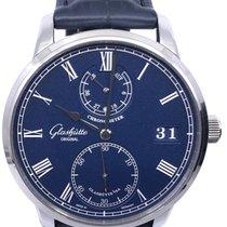 Glashütte Original Senator Chronometer gebraucht 42mm Blau Datum Krokodilleder