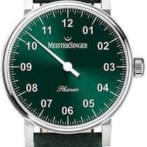 Meistersinger Phanero Steel 35mm Green Arabic numerals