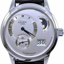 Glashütte Original PanoMaticLunar pre-owned 39mm Silver Moon phase Date Leather