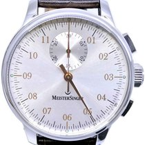 Meistersinger Singular pre-owned 43mm Silver Chronograph Leather