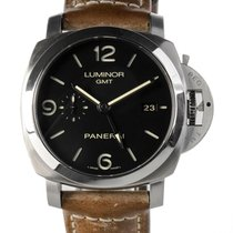 Panerai Luminor 1950 3 Days GMT Automatic Сталь 44mm Черный Aрабские