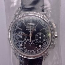 Patek Philippe Platin Handaufzug Schwarz 41mm neu Perpetual Calendar Chronograph