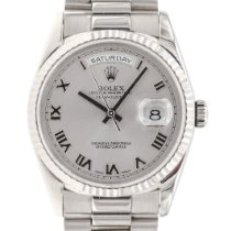 Rolex Day-Date 36 Or blanc 36mm Argent Romains