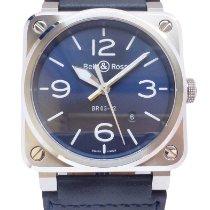 Bell & Ross BR 03-92 Steel nuevo 2019 Automático Reloj con estuche y documentos originales BR0392-BLU-ST/SCA