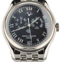 Patek Philippe White gold Automatic Black 37mm pre-owned Annual Calendar