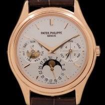 Patek Philippe Perpetual Calendar pre-owned 36mmmm Silver Moon phase Date Crocodile skin