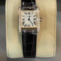 Cartier Rose gold Quartz Silver Roman numerals pre-owned Tank Française