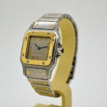 Cartier Santos Galbée Золото/Cталь 24mm Cерый Римские
