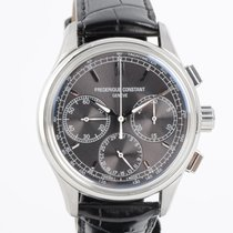 Frederique Constant Manufacture pre-owned 42mm Grey Chronograph Flyback Date Crocodile skin