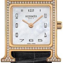 Hermès Złoto różowe Kwarcowy Masa perłowa 21mm nowość Heure H