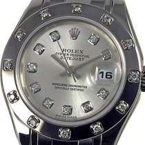 Rolex Lady-Datejust Pearlmaster White gold 29mm Silver No numerals