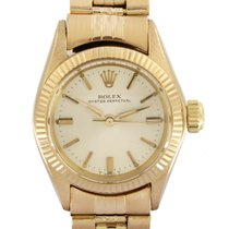 Rolex Rose gold Automatic White No numerals 26 mmmm pre-owned Oyster Perpetual