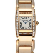 Cartier Rose gold Quartz Silver 20mm pre-owned Tank (submodel)