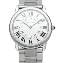 Cartier Steel Quartz White 36mm pre-owned Ronde Solo de Cartier