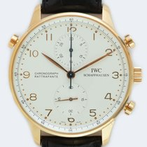 IWC Rose gold Manual winding Silver Arabic numerals 41mm pre-owned Portuguese Chronograph