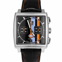 TAG Heuer Monaco pre-owned 39mm Black Chronograph Date Leather