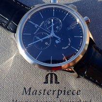 Maurice Lacroix Les Classiques Phases de Lune gebraucht 40mm Schwarz Mondphase Chronograph Datum Leder