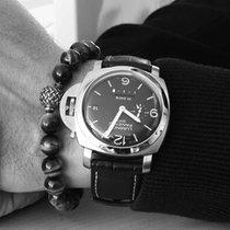 Panerai Luminor 1950 10 Days GMT Сталь 44mm Черный Aрабские