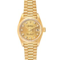 Rolex Yellow gold Automatic Champagne 26mm pre-owned Lady-Datejust