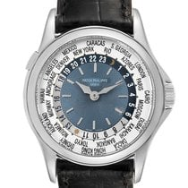 Patek Philippe World Time pre-owned 37mm Silver GMT Leather