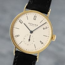 NOMOS Yellow gold Manual winding Silver 35mm pre-owned Tangente