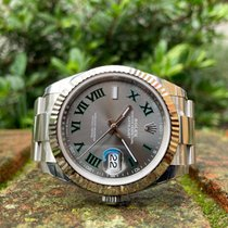 Rolex Datejust Or blanc 41mm Gris Romains