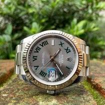 Rolex Or blanc Remontage automatique Gris Romains 41mm nouveau Datejust