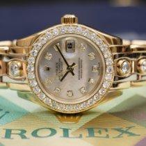 Rolex Lady-Datejust Pearlmaster Zuto zlato 29mm Sedef-biserast Bez brojeva