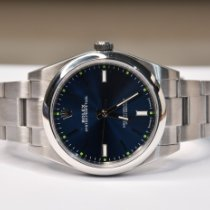 Rolex Oyster Perpetual 39 Staal 39mm Blauw Geen cijfers