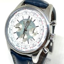 Breitling Transocean Chronograph Unitime pre-owned 46mm White Chronograph Date Crocodile skin