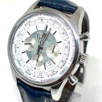 Breitling Transocean Chronograph Unitime occasion 46mm Blanc Chronographe Date Cuir de crocodile