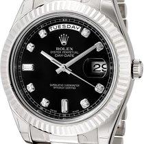 Rolex Day-Date II Bílé zlato 41mm Černá Římské