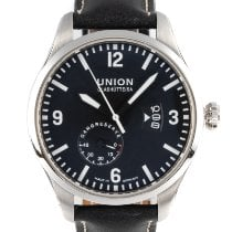 Union Glashütte Belisar Pilot pre-owned 44mm Black Date Calf skin