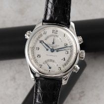 Longines Master Collection pre-owned 44mm Silver Chronograph Date Weekday GMT Crocodile skin